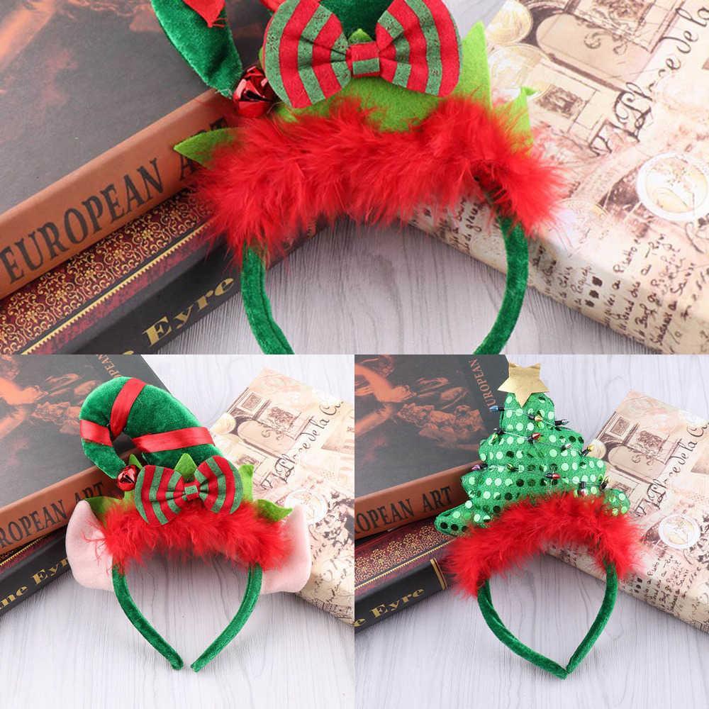 Bandeau 1pc Xmas Headwear Decoration Accessoires Accessoires Cadeaux Arbre De Noël Elf Ear Shape Chapeaux de fête pour enfant 1m48