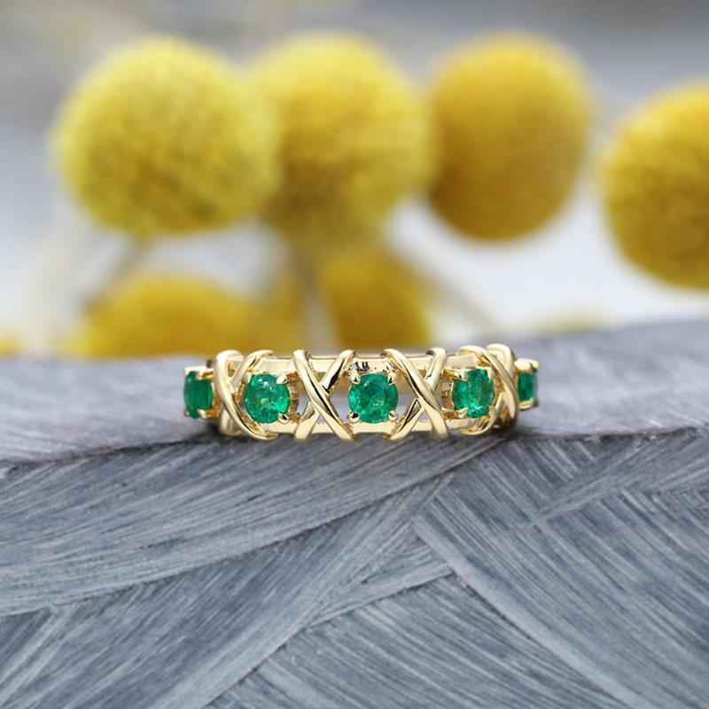 Anel para as Mulheres Luxo Intertwine escavado Verde Zircon luz amarela cor do ouro Nova Moda Jóias Presentes KBR302