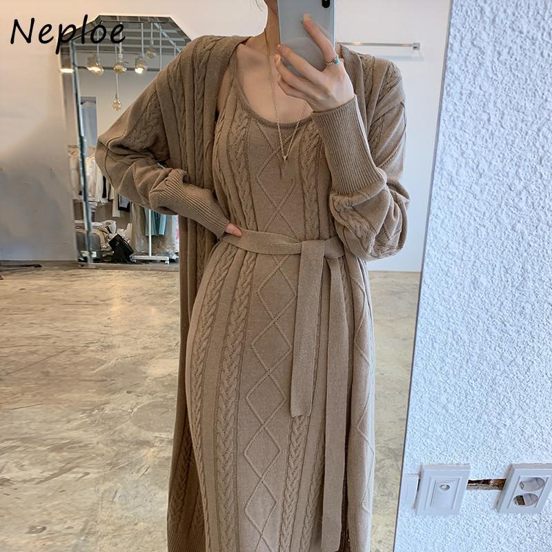 NEPLOE 2021 Sonbahar Yeni Büküm Patchwork Elbise Chic Uzun Örme Kazak Elbiseler Katı Renk Seksi Camiş Bölünmüş Femme Vestidos Q1229