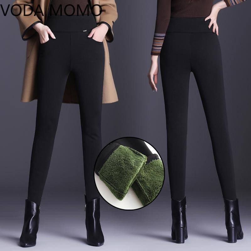 6xl Plus size Women's Winter Pencil Pants Warm Thick Plus Size Casual Elastic Female Pants high waist for Women pantalon mujer