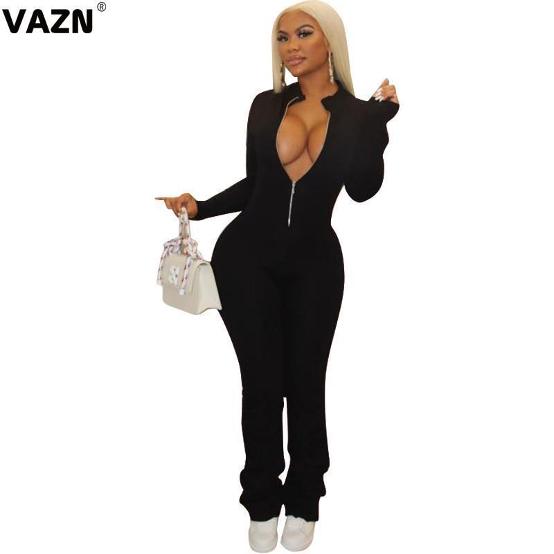VAZN Новые 2020 Осень Solid V-образным вырезом дамы Офис приморский втулки Комбинезон Sexy отдыха Шинни бинты Комбинезоны