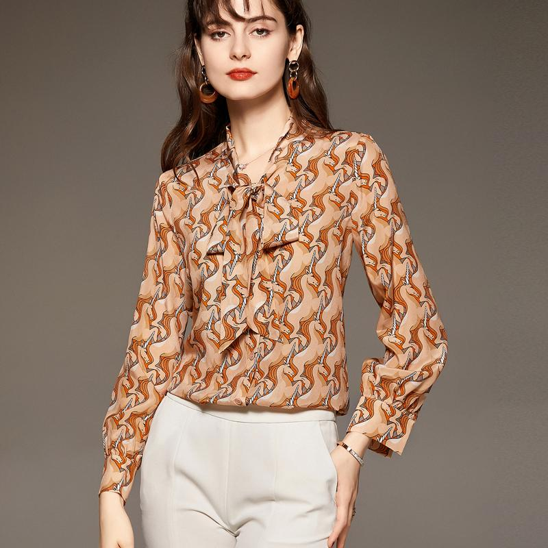 100% Silk Women's Shirt Lace Up Bow Collar Long Sleeves Animals Cartoons Printed Fashion Casual Blouse Tops