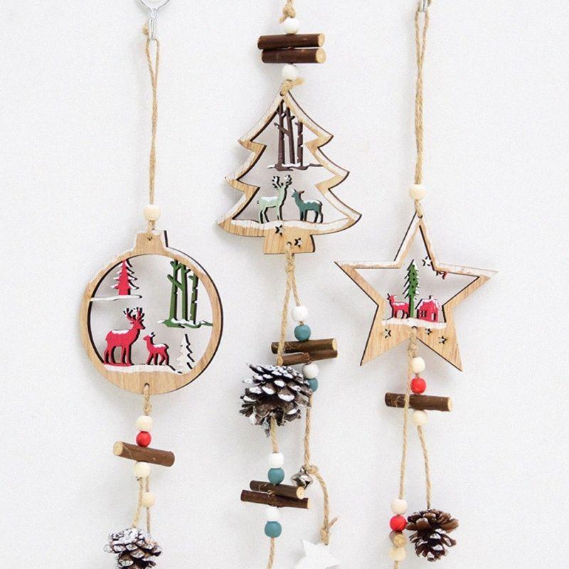 Decoração de madeira Hanging oco árvore de Natal decoração de suspensão Festive Party Supplies hlGa #