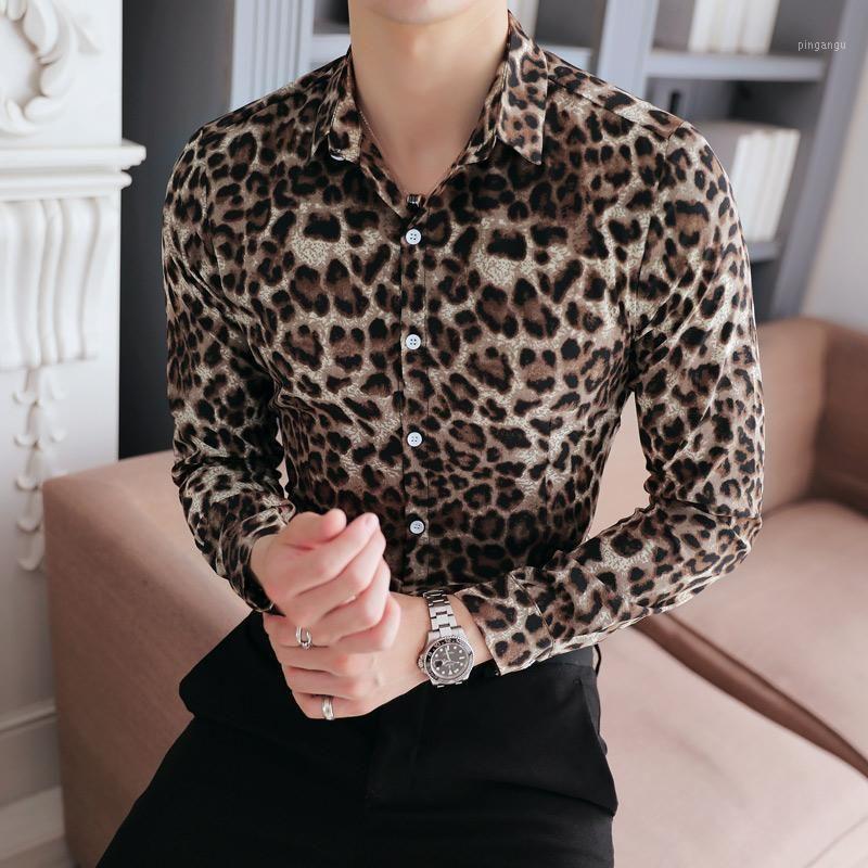 Camicia da uomo di alta qualità Brand New Slim Fit Casual Leopard Print Social Shirts Dress Manica lunga Plus Size Night Club Prom Tuxedo1