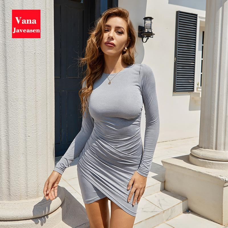 Sexy Solid Color Pleated Slim Dress Women Party Long Sleeve O-Neck Bodycon Pencil Dresses Streetwear Fashion Base Robes Vestidos
