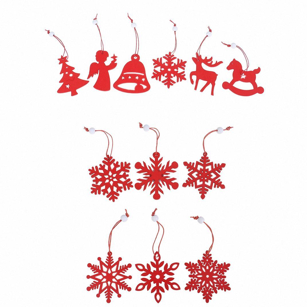 6PCS DIY Snowflakes / anjo / Árvore festa de Natal Ornamentos pingentes de madeira enfeites Elk / bell Decorações de Natal caçoa o presente nMCj #