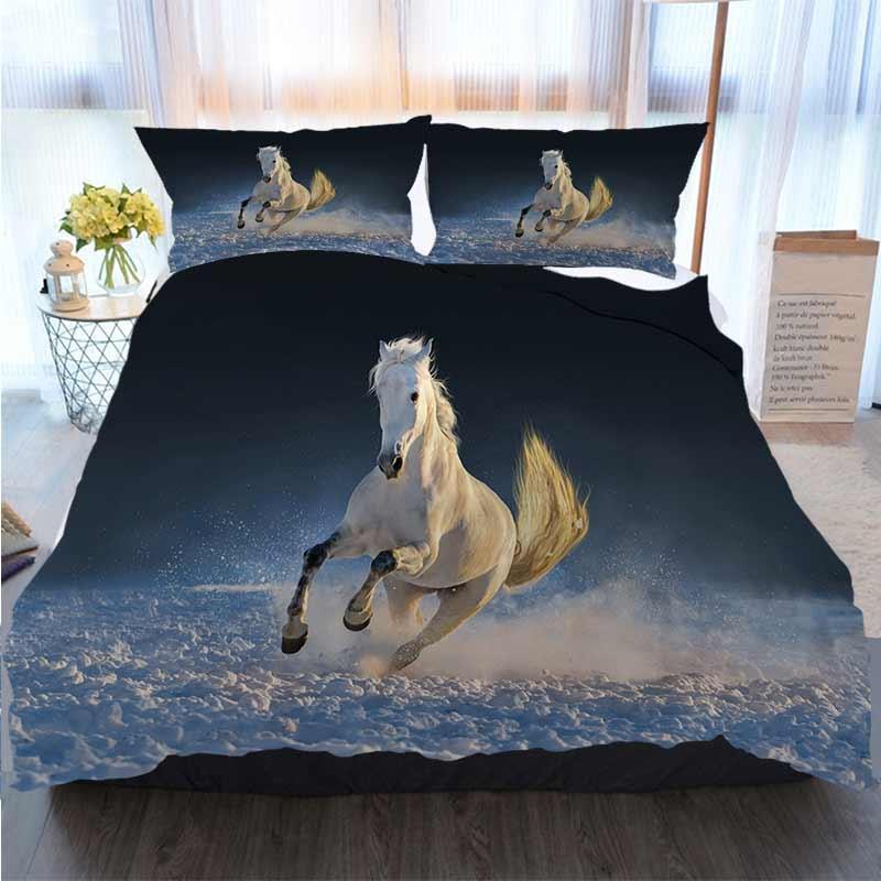 3pcs cama de algodão Set Super King Duvet Cover Set Decor White Horse puro-sangue Cavalo azul capa de edredão Edredons Designer Cama Sets