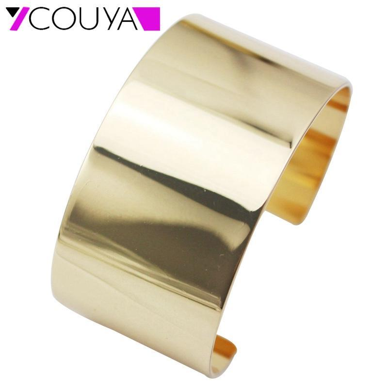COUYA 2020 Einfache Blank Modeschmuck Großhandel Männer / Frauen-Geschenk Trendy Goldfarben-Kupfer-Runde Armband-Armbänder