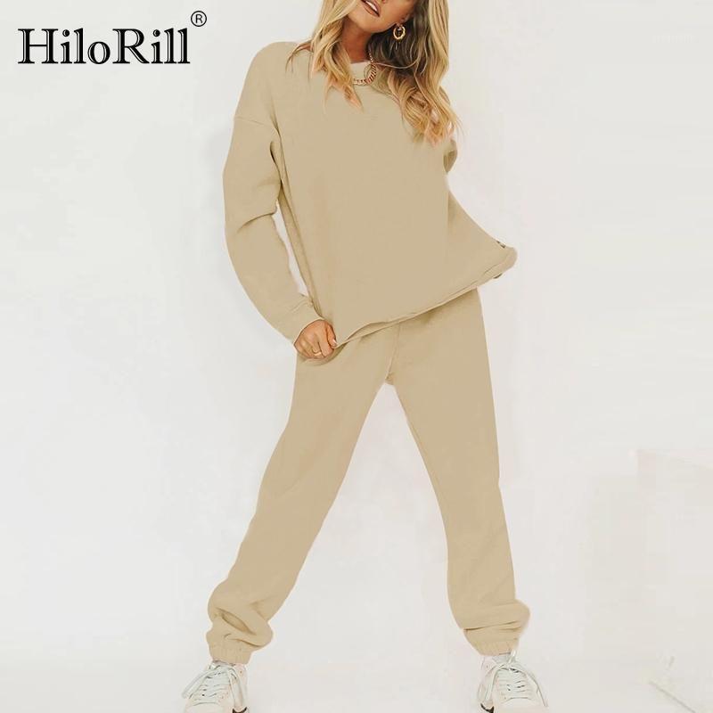 Hilorill Femmes Tracksuit Solid Casual Pullover Sweats à Sweats à capuche 2020 Style de la maison Standards Set Taille High Taille Mesdames Sport Outfit1