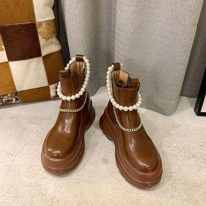 Mulheres inverno revestimento de pelúcia torres de tornozelo Beading metal cadeia alta salto alto plataforma sapatos B233