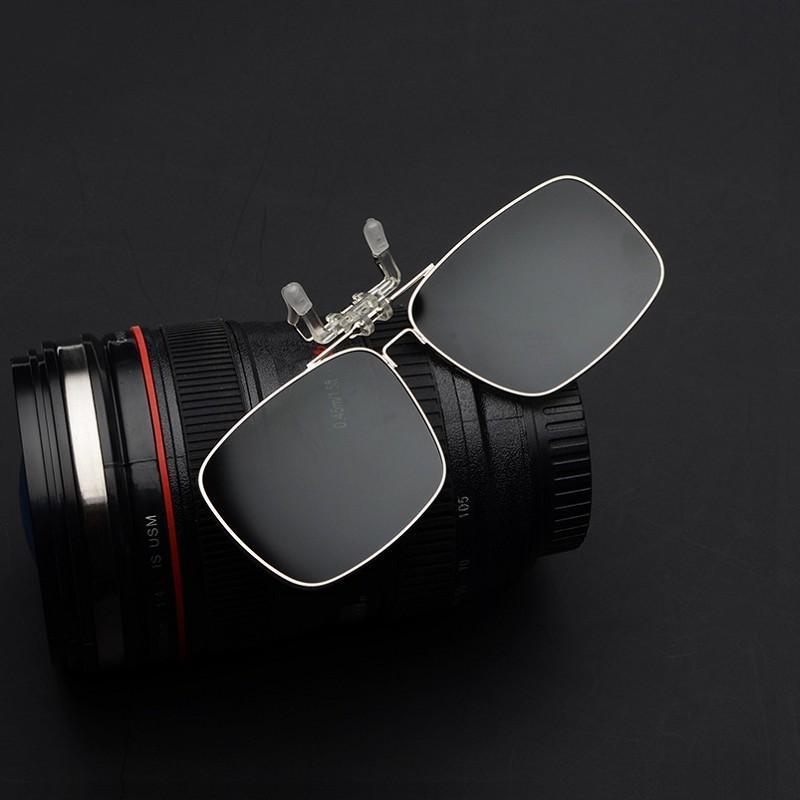 Polarized clip di occhiali da sole Lens occhiali quadrati di visione notturna gialla donne Occhiali da sole con le clip unisex clip