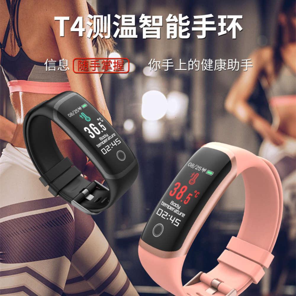 T4 Tiempo real Medición de temperatura Pulsera inteligente Bluetooth Tarifa cardíaca Blood Prsure 30m Impermeable Nuevo productoBgt