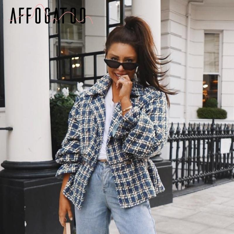 Affogatoo Casual loose women plaid tweed jacket coats Lantern sleeve streetwear coats Elastic high waist ladies outwear jackets 201017