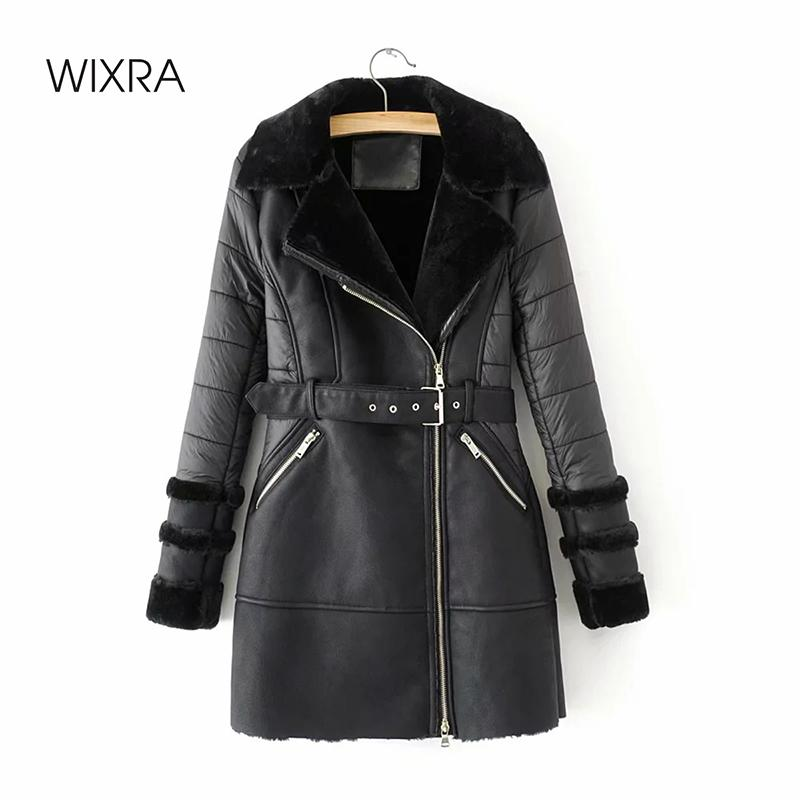 Sashes Lady Kalın Sıcak Coats ile Kürk Sonbahar Kış ile Wixra Yeni Moda Sahte Deri ceketler PU Sokak Uzun Coats 201.029 Cepler