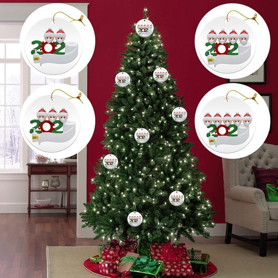 PVC árbol de Navidad decoraciones de DIY Nombre de faimly 2 3 4 5 Saludos de Santa Claus con máscara adorno de navidad de Navidad Decoración DDA558HUGP