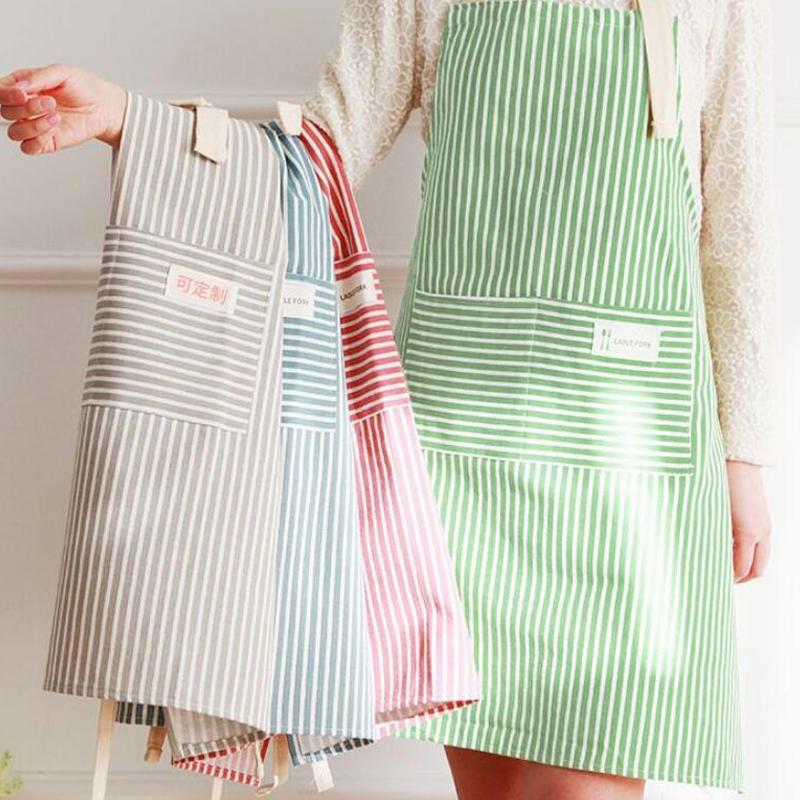 Fashion Simple Fresh Stripe Cocina Delantal Mujer Cocinar Accesorios Café Restaurante Flower Shop Monos para Mujeres