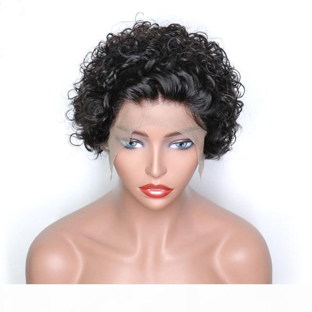 Short Bob Brazilian 13x6 Lace Front Wig Pixie Cut Bob Remy Bouncy Curly Lace Wig Pre Plucked Human Hair Wigs For Women