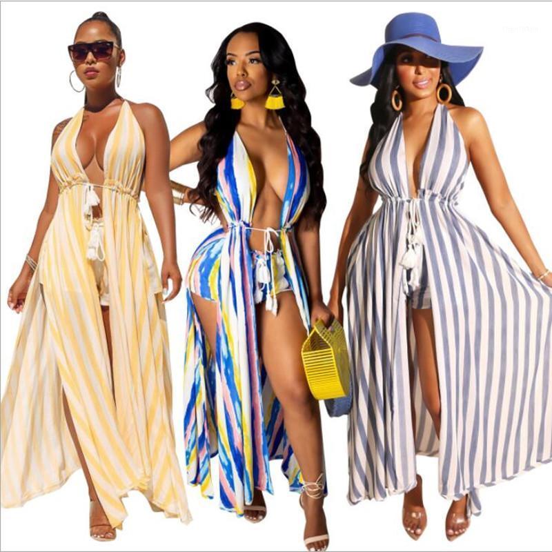 2020 Donne nuove strisce estive stampa spiaggia bohémien senza maniche maxi cloack shorts vestito due pezzi set tucksuit outfit glyz11011