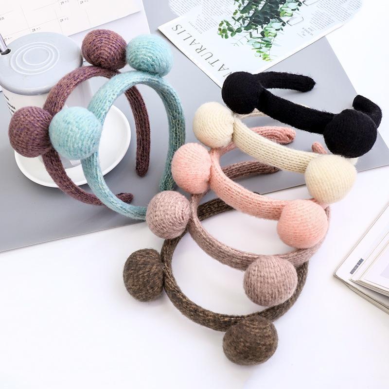 Linda diadema para niñas de lana accesorios de las bolas de pelo Otoño Invierno Mujeres Hairbands Headwear de la manera Bisel cabeza del aro