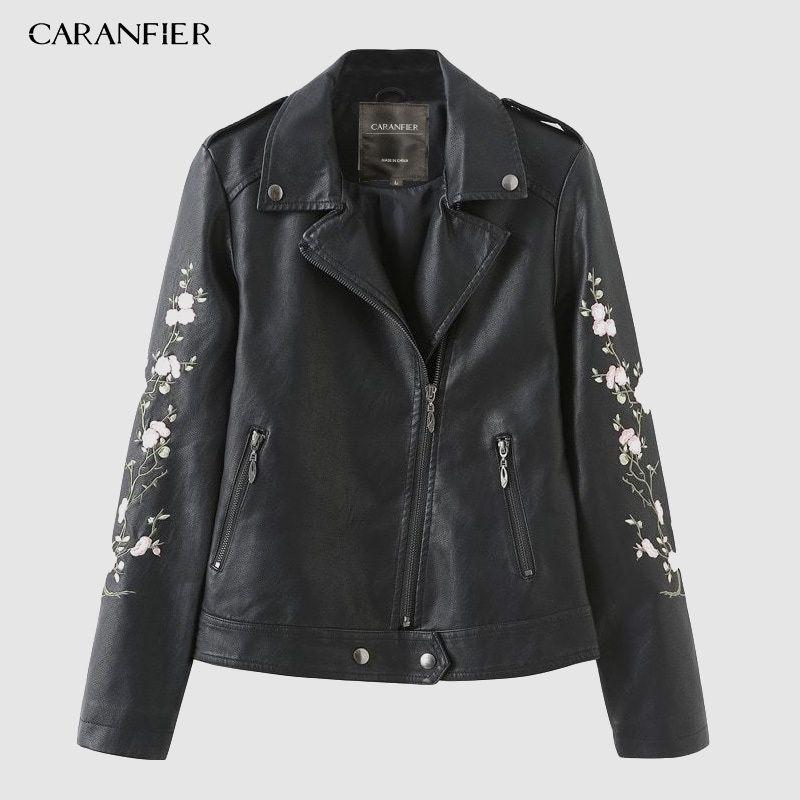 CARANFIER 2019 Nouveau Femmes Punk Faux Veste en cuir noir à manches longues, rue de broderie Fleur de moto Fermeture à glissière souple C1022 manteau en cuir