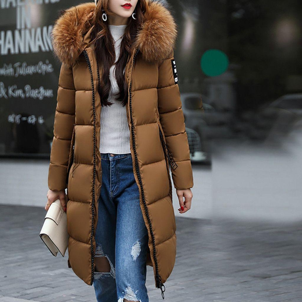 Plus Size Parkas Jacket Women Autumn Winter Slim Long Hooded Warm Solid Casual Thicker long Coat Women Outerwear#G30 210203