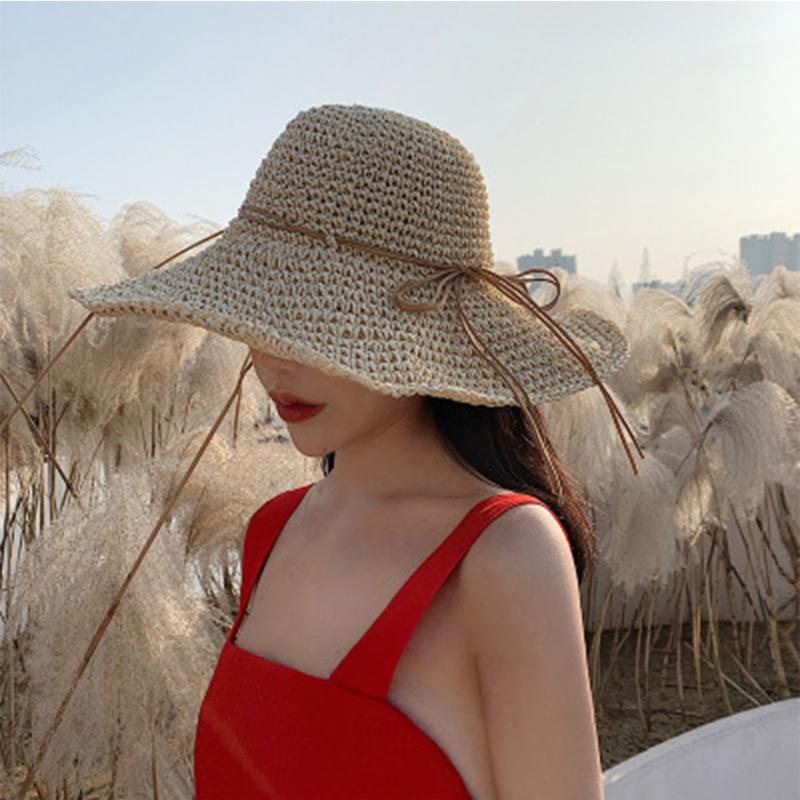 Yeni yaz şapka lafite çim, hasır şapkalar baskın önlenir ilmek plaj kostüm çapraz sınır seyahat güneşlik şapka