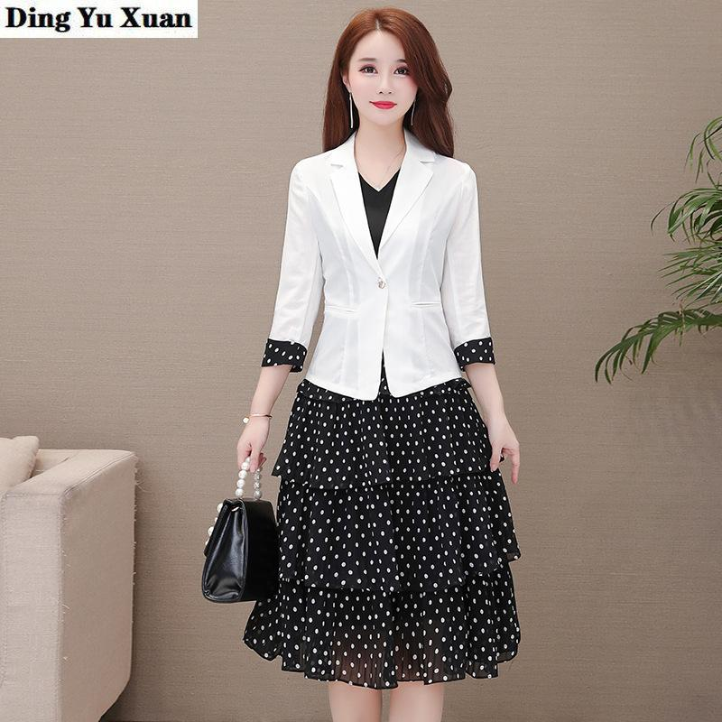 Spring Summer Woman Office Work Blazer Dress Suit for Women White Jacket and Black Knee-length Dresses 2 Two Pieces Set 201009