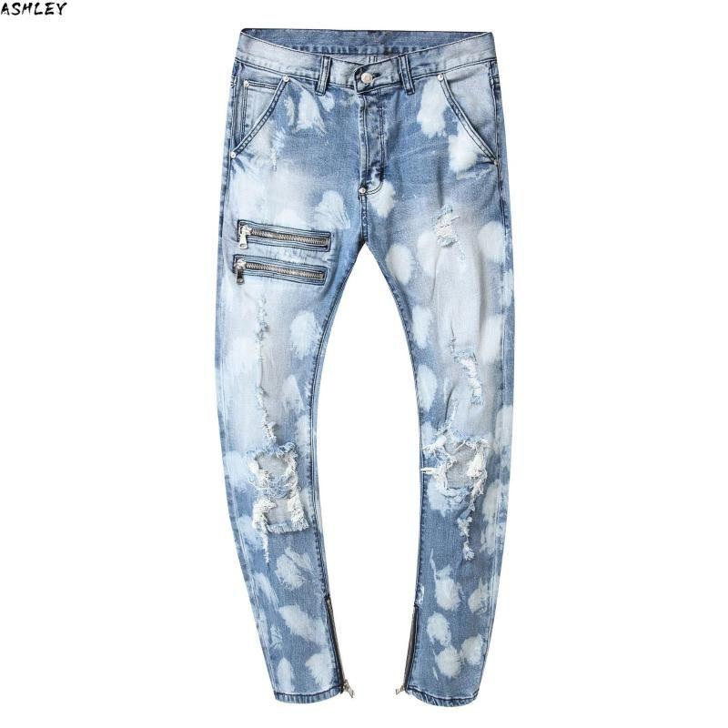 Men's Jeans Ripped Hole Denim Light Blue Design Men Fashion Brand 2021 Autumn Spring HIP HOP Streetwear Trousers Plus Size W 42 44 46