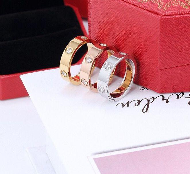 حار بيع النساء الرجال زوجين الدائري مجوهرات 4 ملليمتر 5 ملليمتر 6 ملليمتر الفضة الذهب روز الذهب اللون التيتانيوم الصلب عاشق خواتم مع مربع