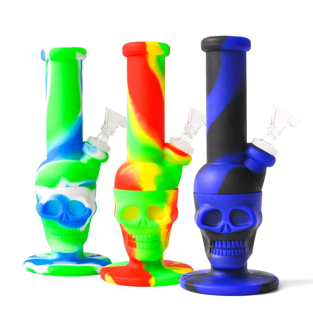 Buen precio Silicone Skull Bong 8.0 Inch Altura Multi Color Silicone Agua Tubería de agua Tubería de agua Silicona Oil Rig DHL Envío gratis