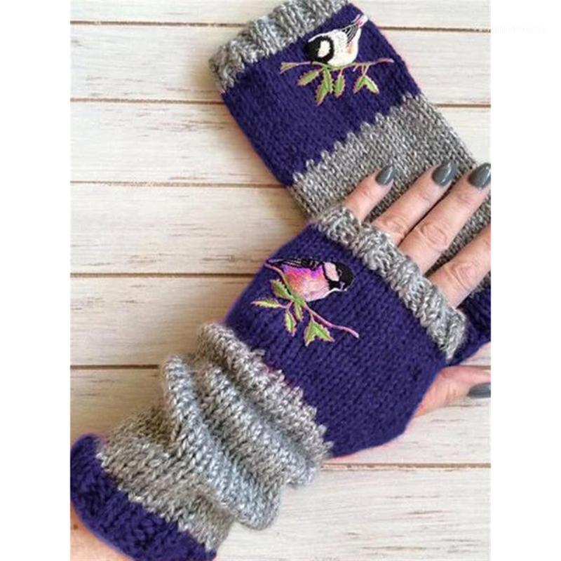 Cinq doigts Gants Broderie Femmes sans doigts Tricoté plus Velvet Color Block Block Splice Mitaines Femmes Femmes Rekawiczki Damskie # YJ1