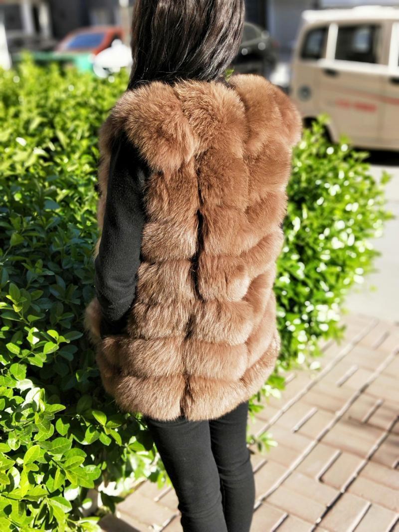 Kadın Kürk Faux Lanshitina Moda Sıcak Yelek Deri Çim Coat Omuz Kış Kısa