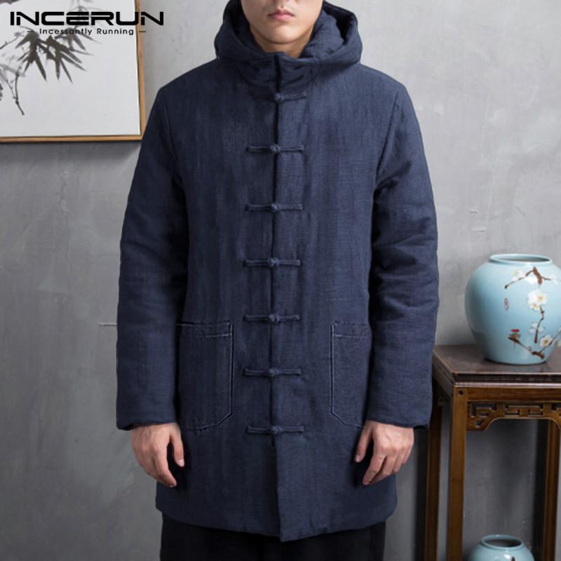 Кнопка INCERUN Хлопок Мужчина Parkas Зима с длинным рукавом Up Trench 2020 с капюшоном Китайского стиля проложенной Верхней одеждой Vintage куртка пальто-