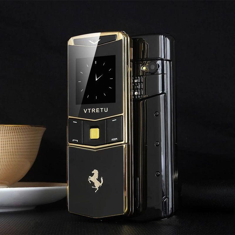 Luxus Metallkörper Gold Signature Mobiltelefon freigeschaltet Dual SIM-Karte GSM Sonderstil Slider Handy BT Dial MP3 Camera FM Mobiltelefon
