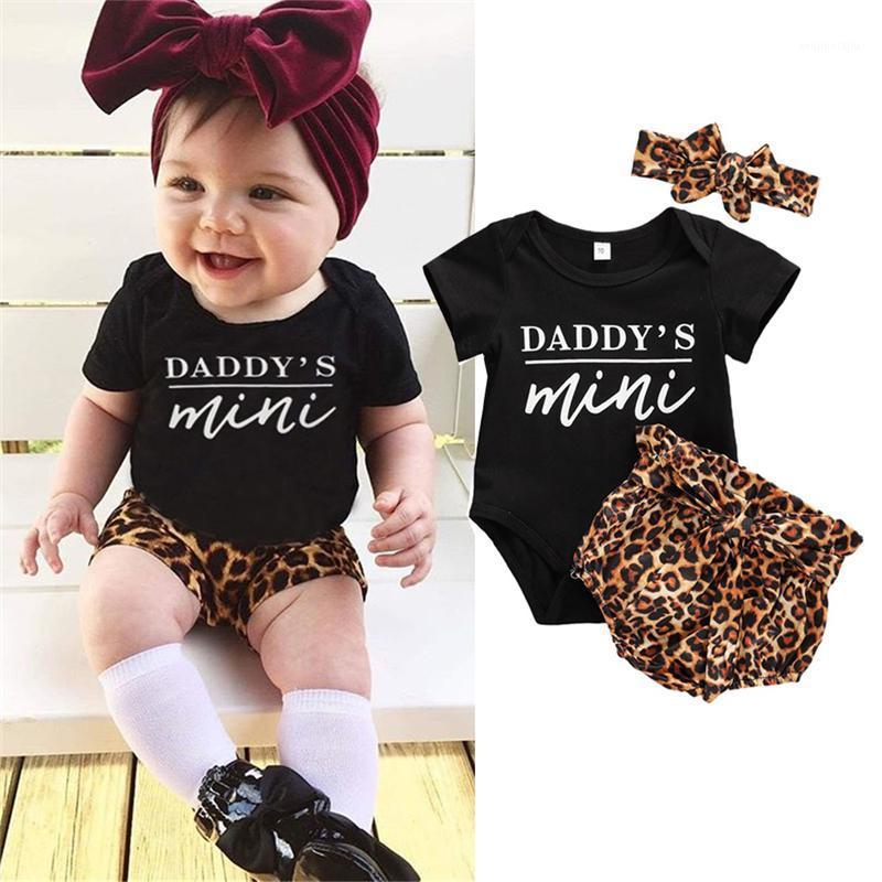 Newborn Baby Girl Clothes Set Summer Short sleeve Romper Leopard Print Shorts Headband 3Pcs Outfit New Born Infant Clothing1