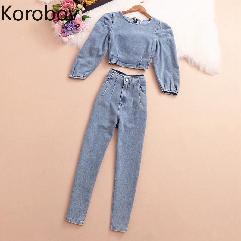 Korobov Streetwear Denim Women 2 Pices Sets Korean O Neck Puff Sleeve Crop Top and High Waist Zipper Pants Suits Outfits Femme LJ201125