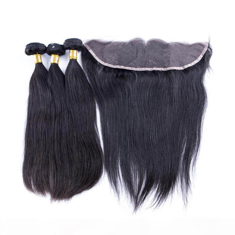 13x4 Dentelle Frontal avec le corps Bundles cheveux vague du Brésil du Pérou Indien malaisienne Vierge humaine Cheveux Tissages Fermeture Couleur Noir Naturel 4pcs