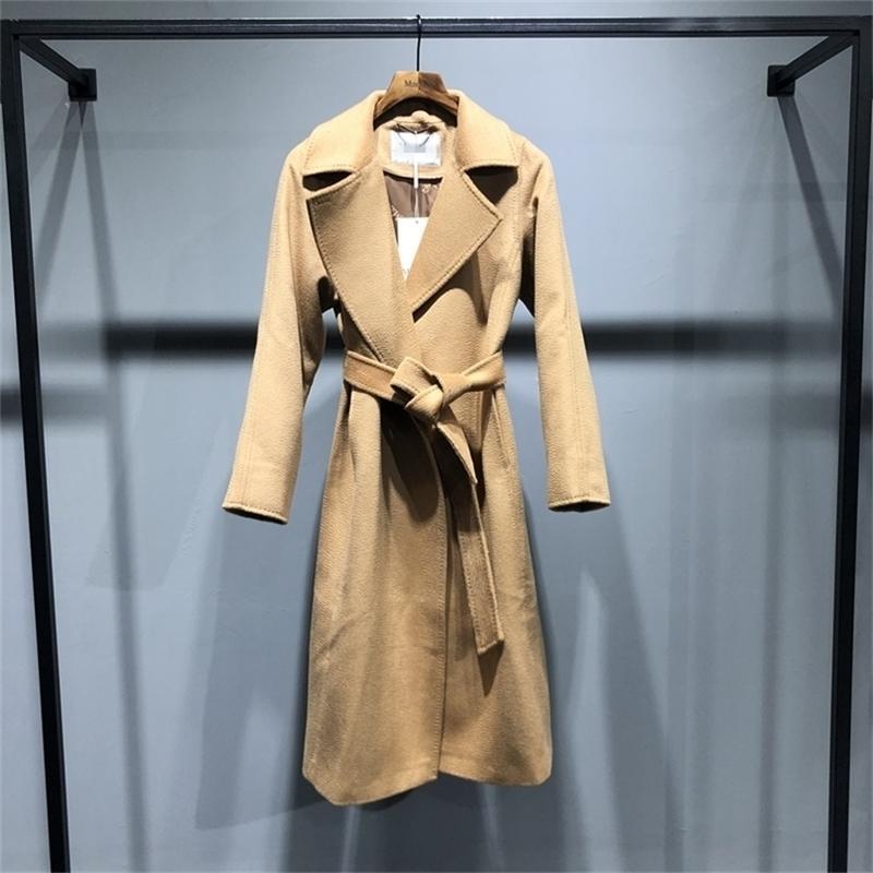 Giacca da donna di fascia alta Cappotto d'acqua classico cappotto cappotto cappotto lungo sezione da donna autunno inverno cappotto cappotto moda giacca rossa 201215