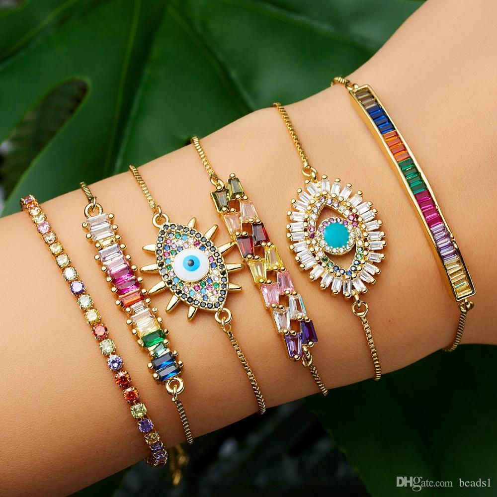 Bohemia Gold Evil Eye Bracelet Classic Turkish Blue Women Girls CZ Rainbow Jewelry Adjustable Tennis Chain