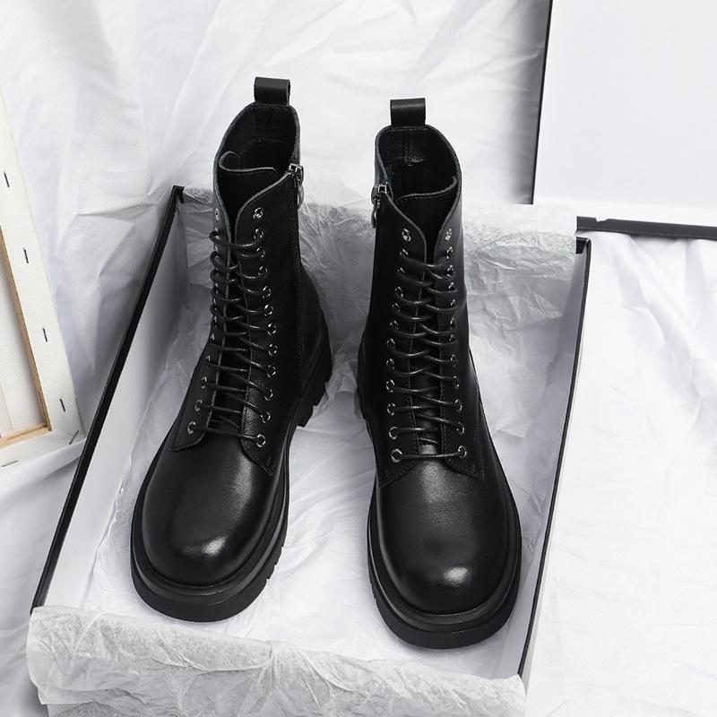 Bottes Yuxiang Automne Femmes Round Toe Boucle Chaussures Augmentation interne Mode Plus Taille Talons carrées Laçage1