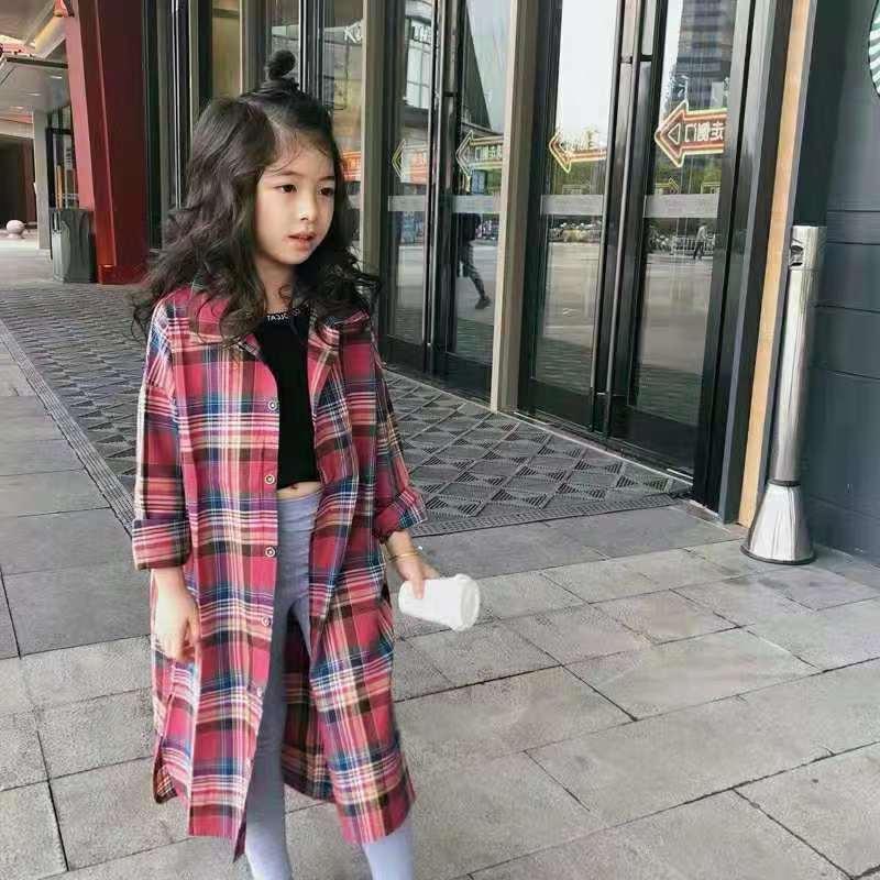 Куртки 2021 ребёнок клетчатые рубашки блуза куртка девочки дети весна осень мода повседневная кардиган детская одежда одежда