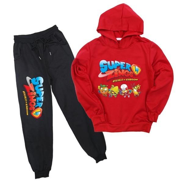 De Super Zings 4 stampa Superzings bambini delle ragazze dei ragazzi con cappuccio Felpe vestito di pantaloni 2pcs / set Jogging Pant per bambini set di abbigliamento X0923