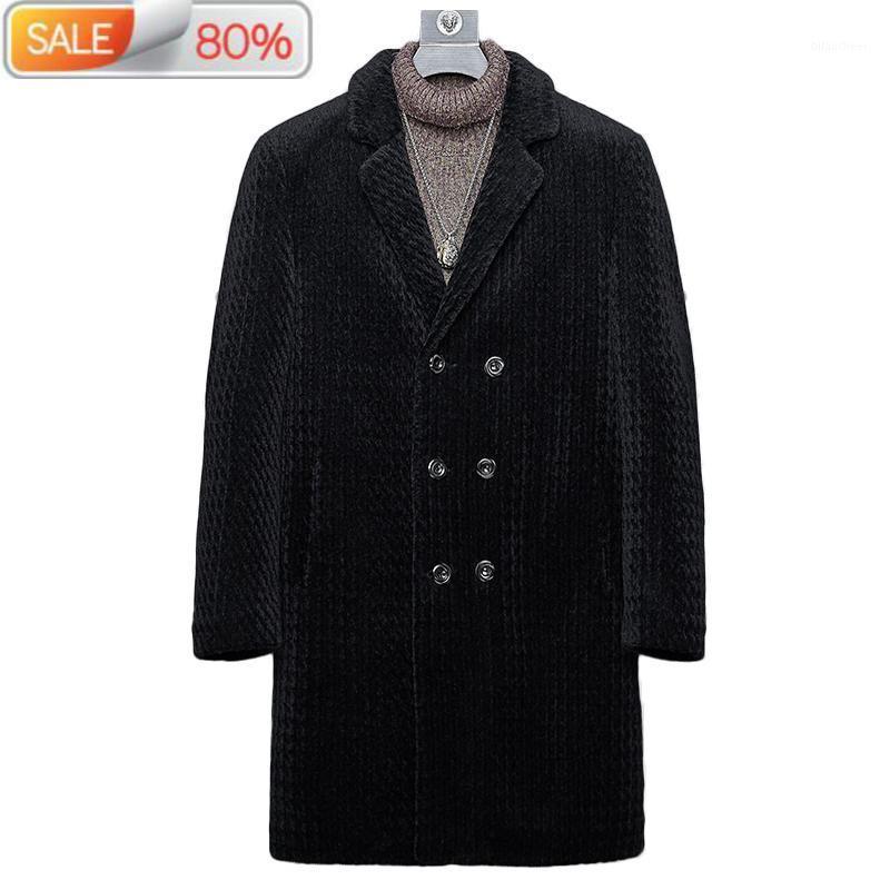 Coat Winter Jacket Men Real Sheep Shearling Fur Coats Mens Windbreaker Long Jackets CWB1A23 ND14001