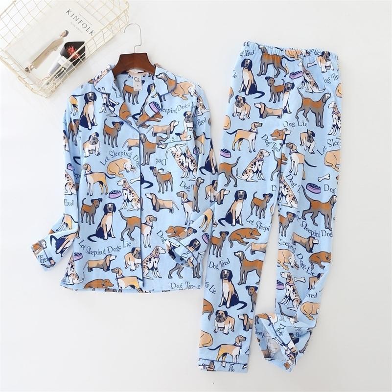 NOUVEAU BLUE FEMMES PYJAMAS PYJAMAS Dog Mignon Chien Pijama Pijama Pijama à manches longues Pantalon à taille élastique Lounge Nightwear Pajamas S80001 Y200708