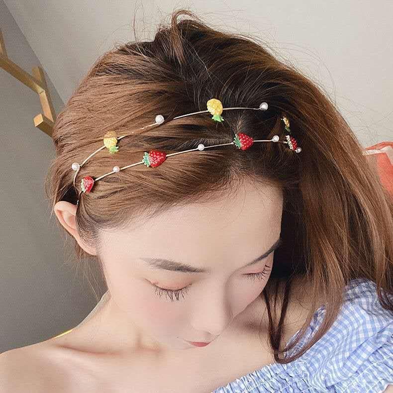 INS Pequeño temperamento femenino fresco Fresa cabeza fina Forestal Forestal Fruta Banda de Fruta Accesorios para el cabello coreano CCUK