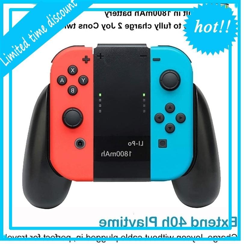 Joy Con إعادة تحميل بطارية 1800mAh 2-in-1 Comfort Grip ل Nintendo Switch Joy-Con تحكم Joycon Charger مع كابل