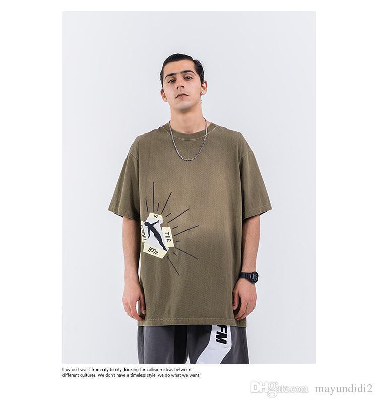 Primavera, estate, il nuovo abbigliamento popolare maschile logo lavato fare vecchio stereo schiuma manica corta maglietta degli uomini di stampa
