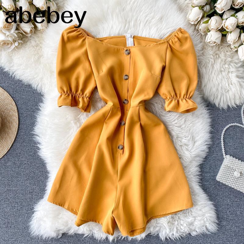 Урожай желтый Boho тонкая кнопка 2020 с плеча Комбинезон Повседневный Sexy Women ползунки короткое лето легкий костюм с шортами Beach Holiday Ромпер