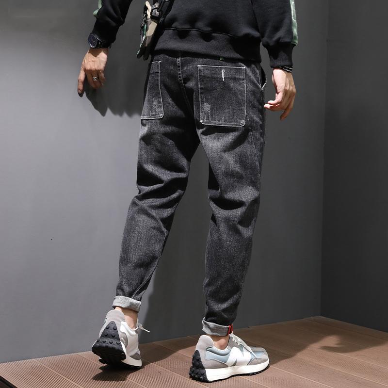 2021 New Autumn Newly Fashion Men Jeans Black Color Elastic Casual Denim Harem Pants High Quality Korean Style Hip Hop Wide Leg Trousers Uk1