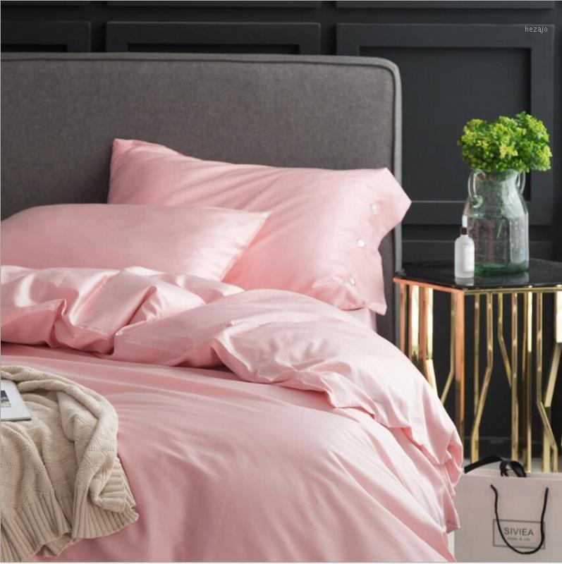 Pink Princess Bedging Set King Queen Egypt Хлопок Отель Достовое покрытие Плоский / Устойченный Лист Сплошной Цвет Девушки Постельное Беневые Кровать Белье1